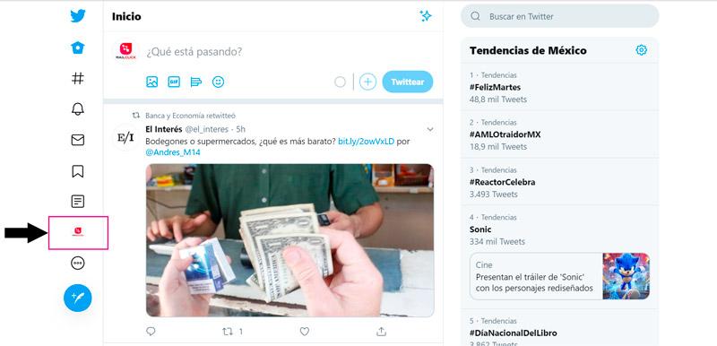 Captura de pantalla señalando la ubicación del botón de perfil en Twitter