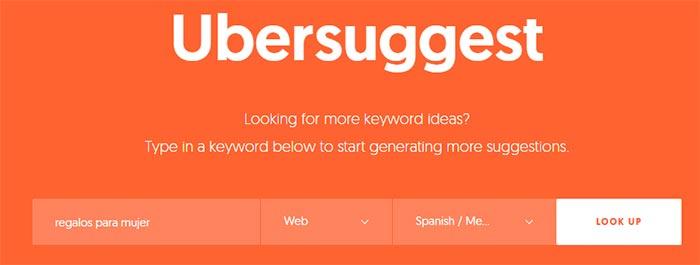 Uso de ubersuggest para búsqueda búsqueda de palabras clave