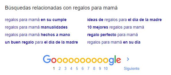 Ejemplo de busquedas relacinadas de Google