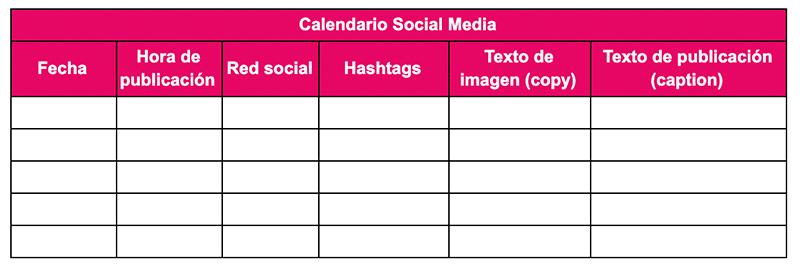 Ilustración que muestra el ejemplo de un calendario para social media