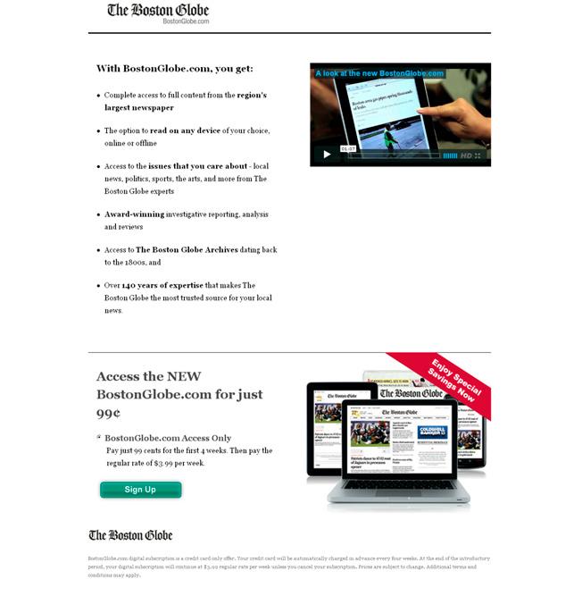 Ejemplo de una landing page con el call to action en la parte inferior