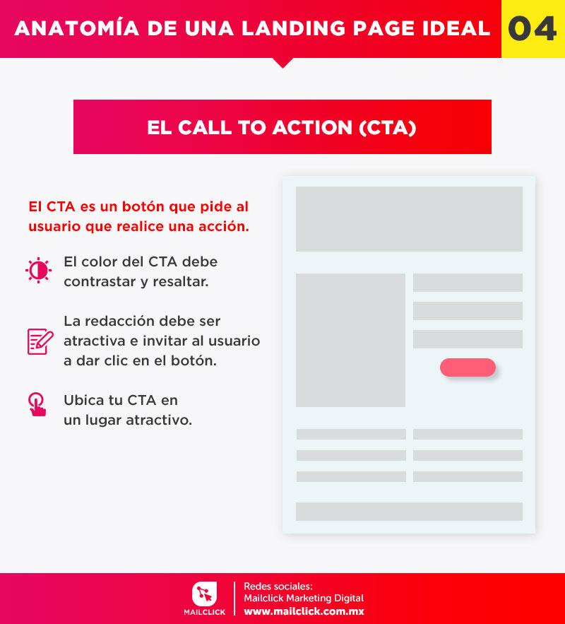 El Call to Action o llamada a la acción es un elemento fundamental en una página de aterrizaje