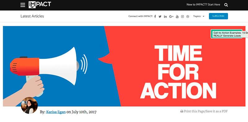 Ejemplo de una landing page con un call to action siempre visible en la cabecera