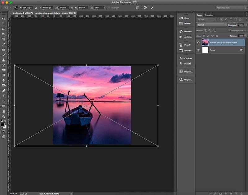 Cambia el tamaño de la imagen con la herramienta Transformar en Photoshop