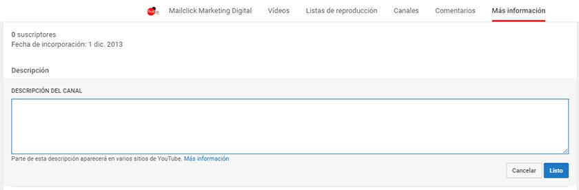 Youtube SEO Cambiar descripción del canal