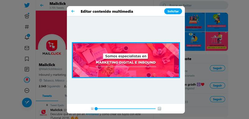Captura de pantalla de la barra para cambiar el tamaño de la imagen de portada en Twitter