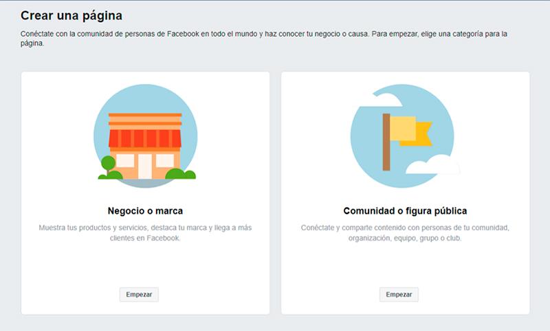 Captura de pantalla mostrando las categorías de Fan Page en Facebook