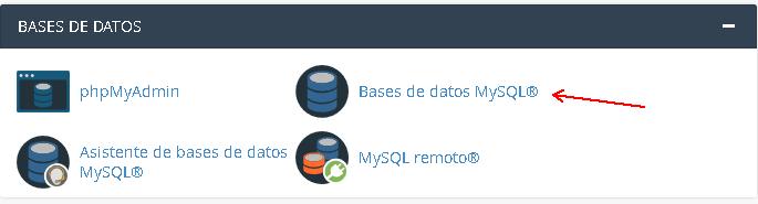 Entrando a la configuración de Base de datos MySQL desde el cPanel de nuestro Hosting