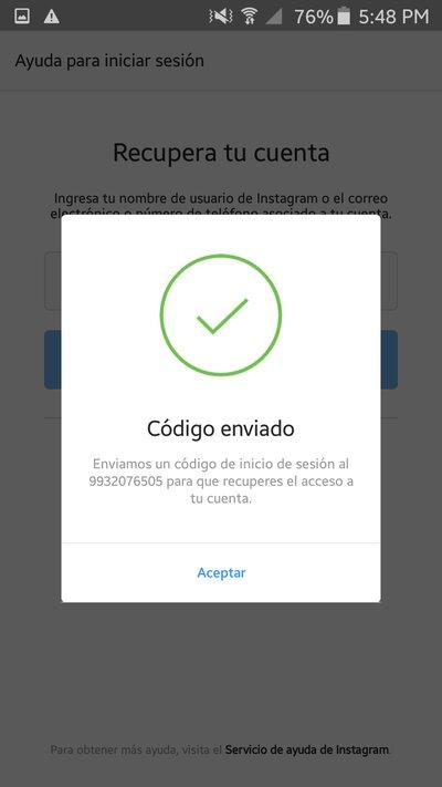 Código enviado vía SMS