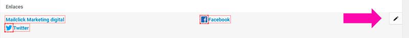 Botón para agregar enlaces de URL