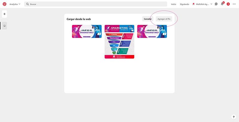 Captura de pantalla del espacio donde se muestran todas las imágenes disponibles para crear un pin en Pinterest