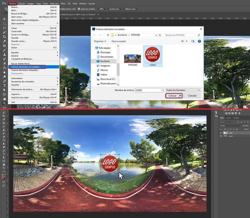 Pasos para aprender cómo agregar logotipo a una foto 360