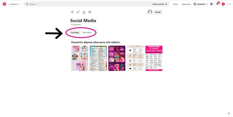 Captura de pantalla de Pinterest señalando dónde se pueden seleccionar pines para agregar a tus tableros