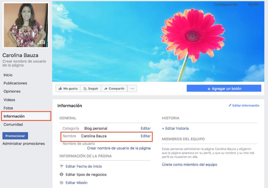 Captura de pantalla cambiando el nombre a una fan page de Facebook