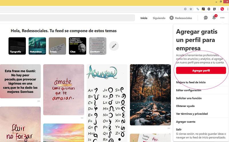 Captura de pantalla mostrando qué seleccionar para cambiar de un perfil personal a un perfil empresarial en Pinterest