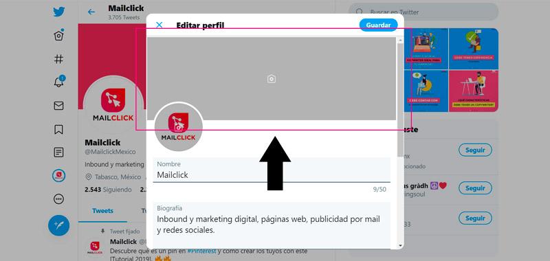 Captura de pantalla señalando dónde se cambia la portada de Twitter