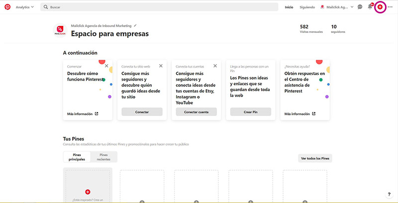 Captura de pantalla señalando el botón de configuración en Pinterest