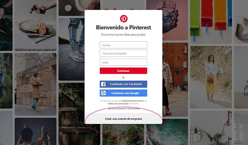 Captura de pantalla señalando el botón para crear una cuenta empresarial