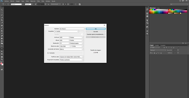 Captura de pantalla de las opciones para un nuevo documento