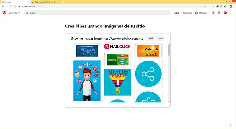 Captura de pantalla donde se crean los primeros pines