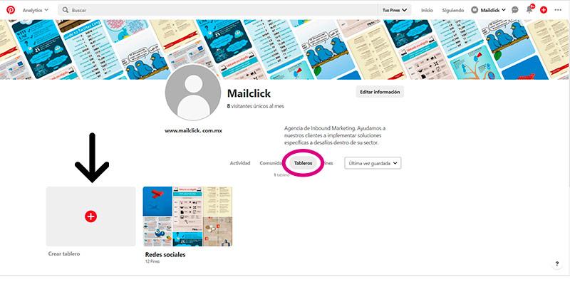 Captura de pantalla de la sección para crear tableros en Pinterest