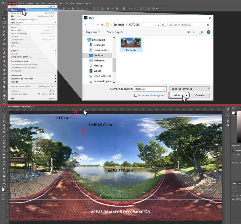 Pasos para abrir una imagen 360 en photoshop y colocar líneas guía