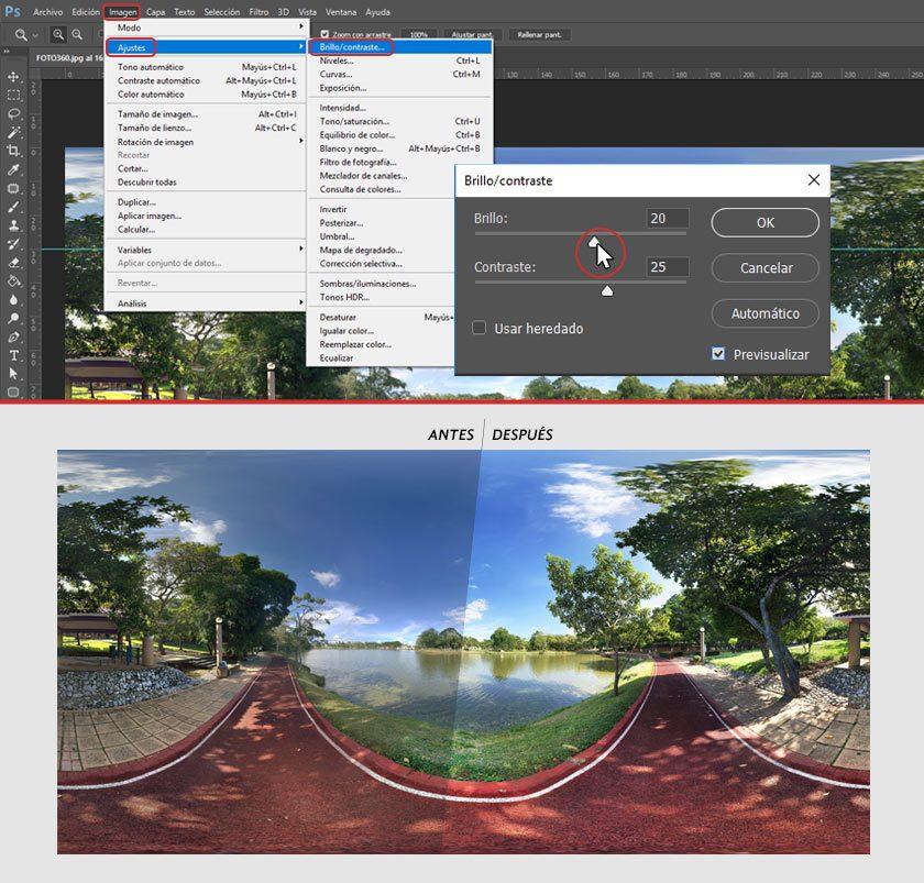 Pasos para aprender cómo editar los ajustes en fotos 360.