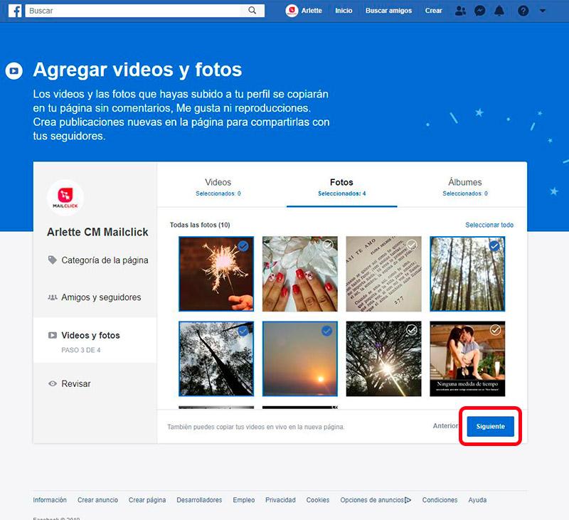 Captura de pantalla de elección de fotos y videos para migrar a la fan page de Facebook.