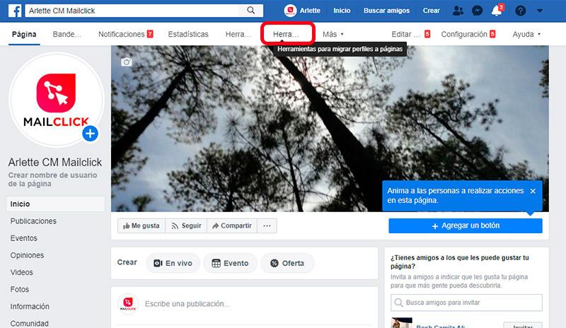 Captura de pantalla que muestra la sección de herramientas para terminar de migrar tu perfil personal a página de Facebook