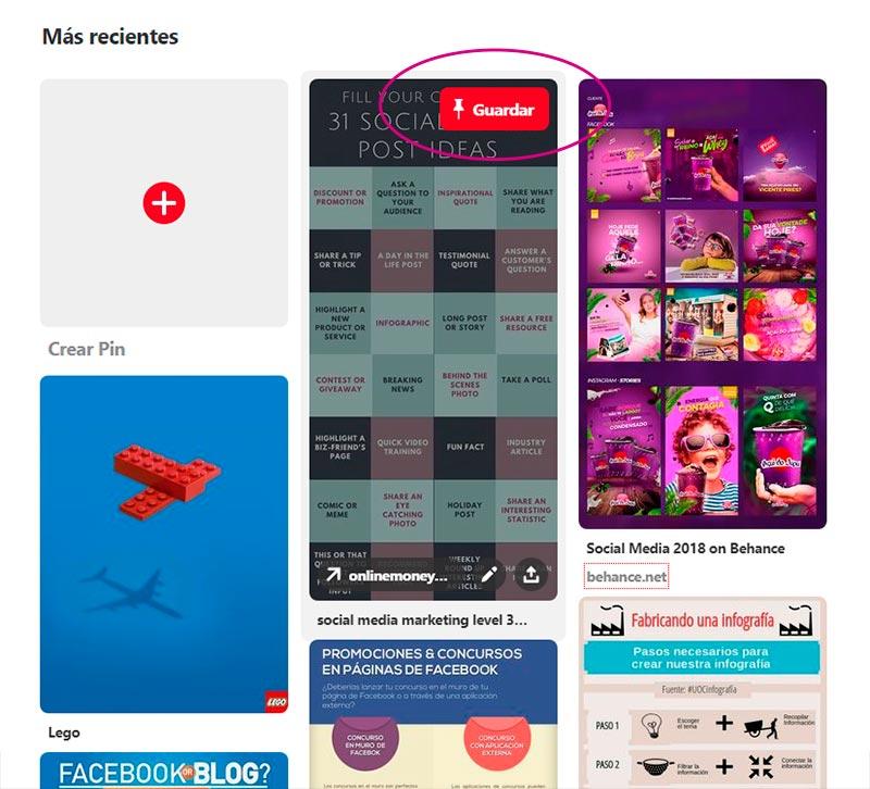 Captura de pantalla señalando el dónde Guardar una publicación en Pinterest