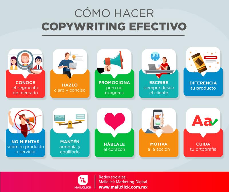 Infografía sobre las claves para hacer un copywriting efectivo