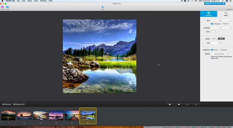 Captura de pantalla de la ventana principal de Picgif, con la barra de ajustes y la previsualización de la imagen