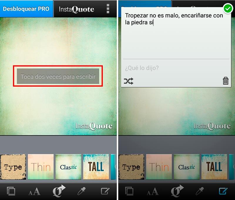 Cómo hacer imágenes con frases para Facebook en InstaQuote