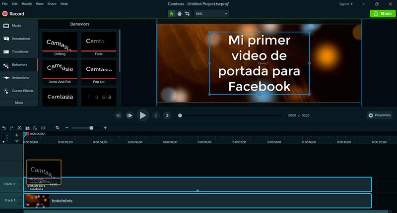 Cómo hacer un video de portada para Facebook: aplica una animación al clip de texto