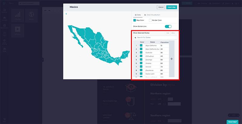 Cómo hacer una infografía: edita los datos del mapa