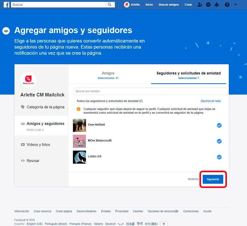 Captura de pantalla de la selección de amigos, seguidores o solicitudes de amistad para convertir en seguidores de la nueva fan page de Facebook.