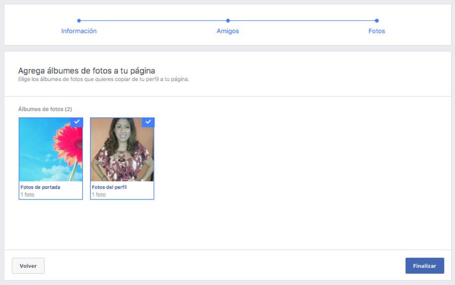 captura de pantalla migrando un perfil personal a fan page en Facebook quinto paso