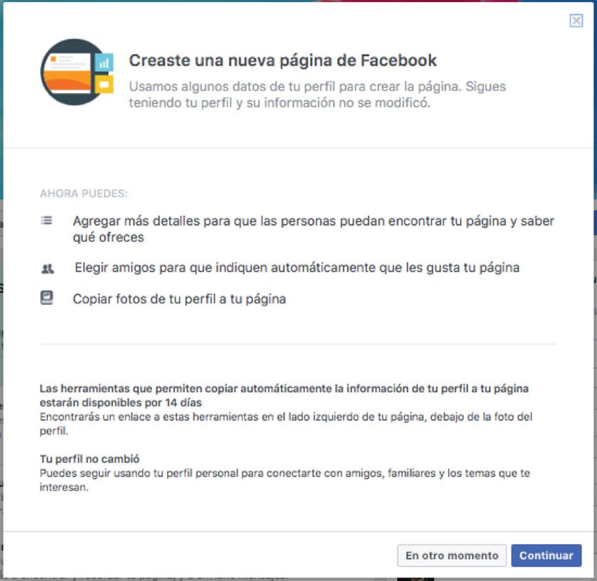 captura de pantalla migrando un perfil personal a fan page en Facebook segundo paso