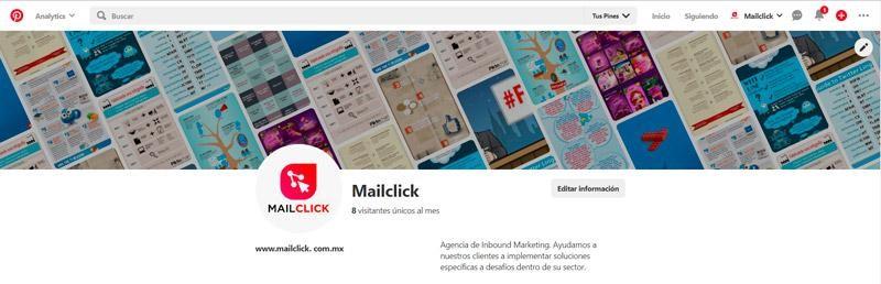 Captura de pantalla del perfil de Mailclick en Pinterest