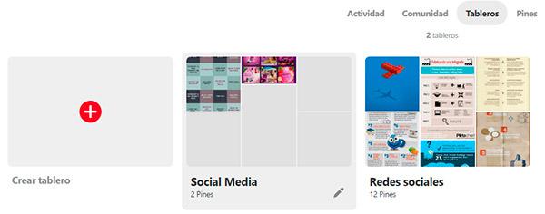 Captura de pantalla de los tableros de Mailclick en Pinterest