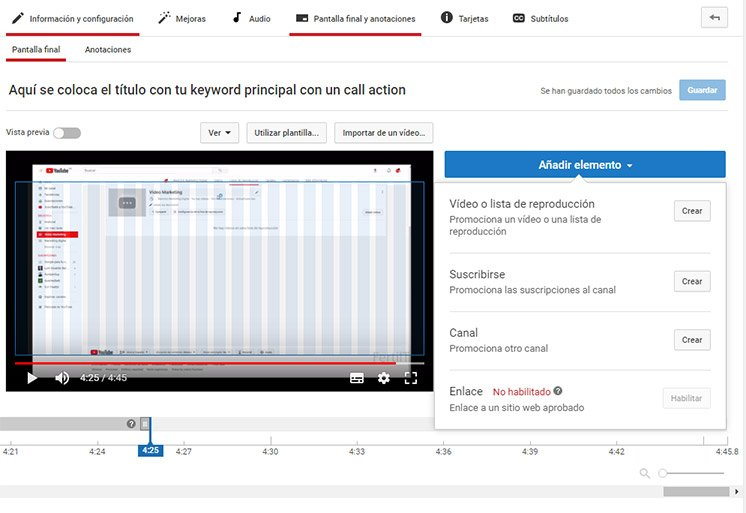 cómo posicionar un video en youtube pantallas finales