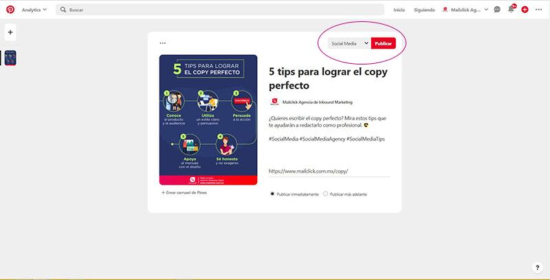 Captura de pantalla señalando la ubicación del botón para publicar un pin