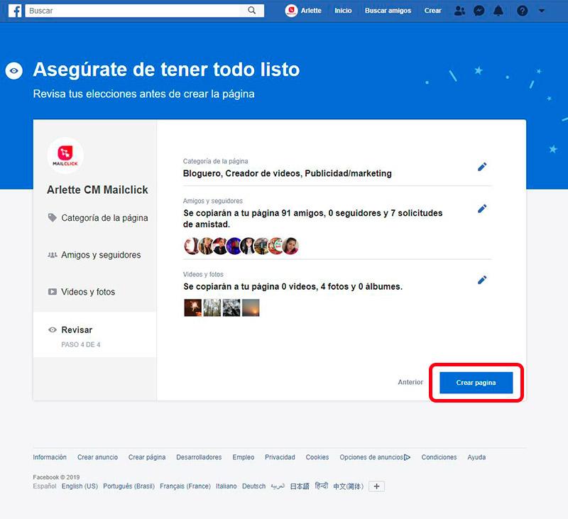 """Captura de pantalla de revisión final para migrar el perfil personal a fan page y dar clic en botón """"Crear página""""."""