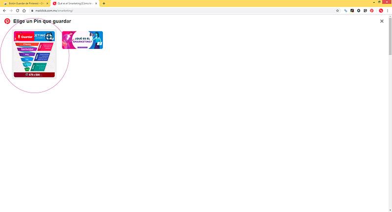 Captura de pantalla señalando la imagen que seleccionaré para un pin en Pinterest