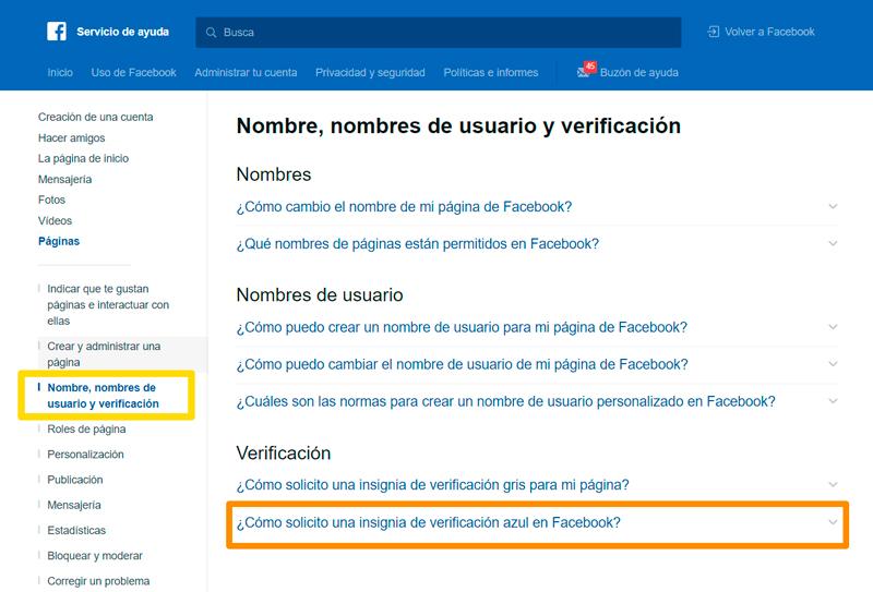 Captura de pantalla sobre cómo solicitar una insignia para una cuenta de Facebook