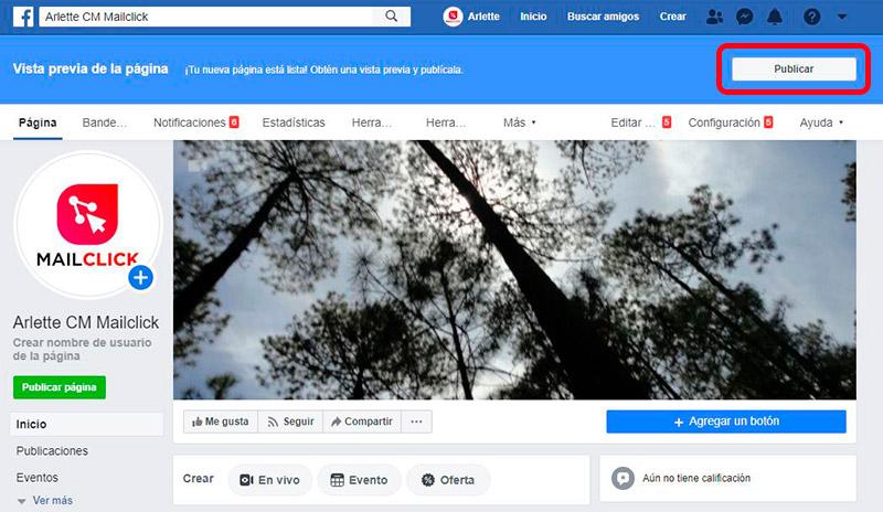 Captura de pantalla que muetra el botón de publicar para finalizar la migración de perfil personal a fan page de Facebook.