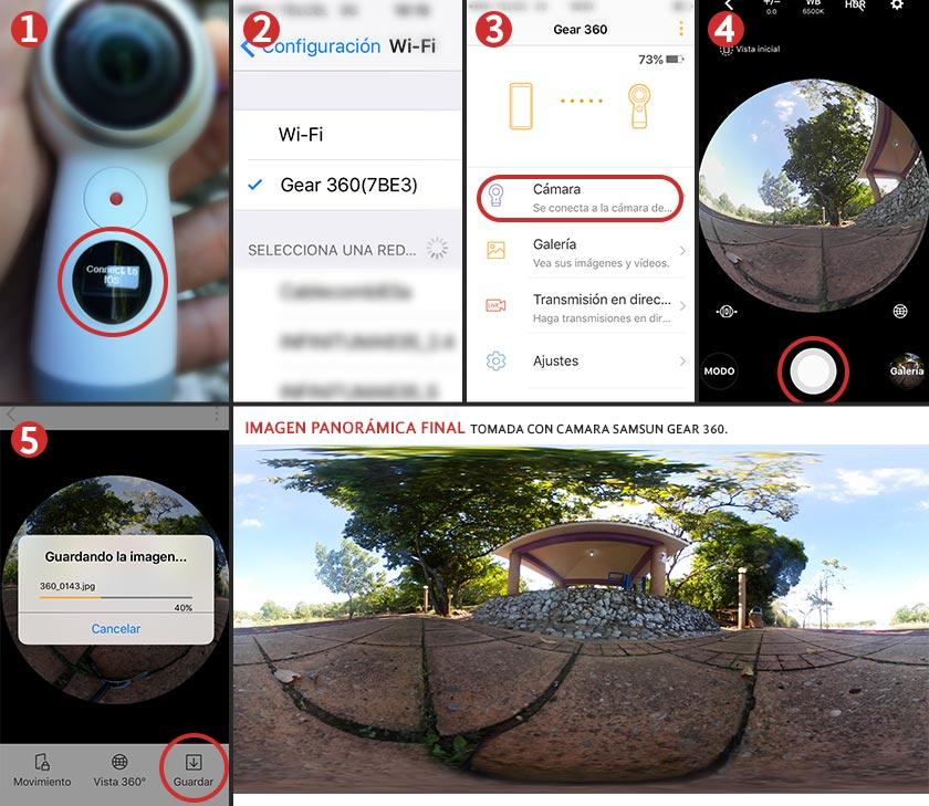 Pasos para aprender cómo tomar fotos 360 con una cámara Samsung Gear 360 vinculada a un celular