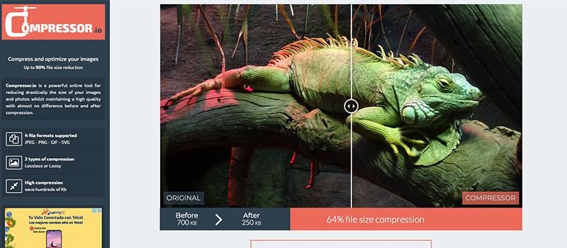 Captura de pantalla de la página Compressor