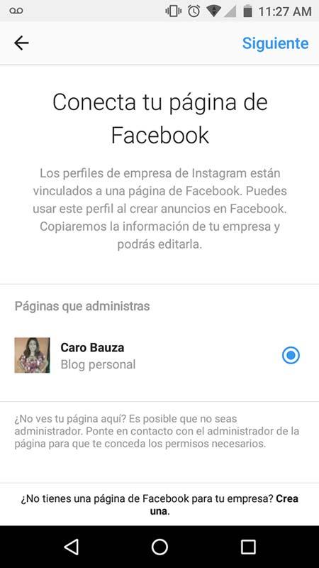 Crea instagram para empresas conectando una página de facebook