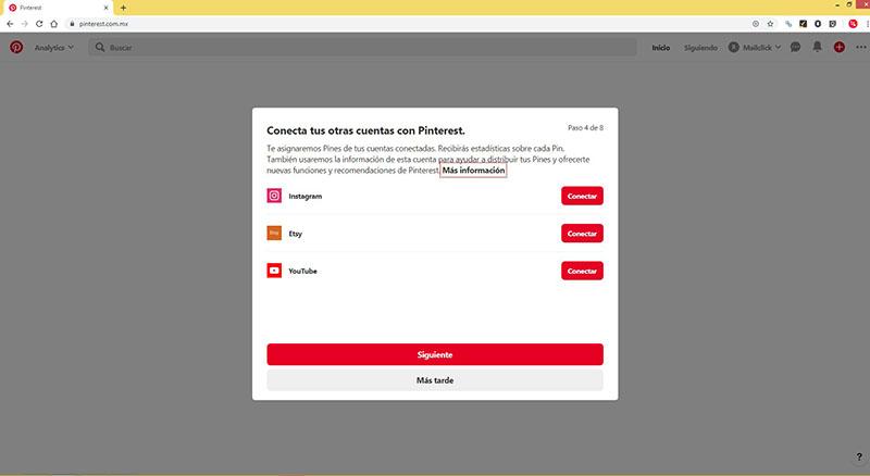 Captura de pantalla del cuarto paso: conectar la cuenta de Pinterest con otras cuentas